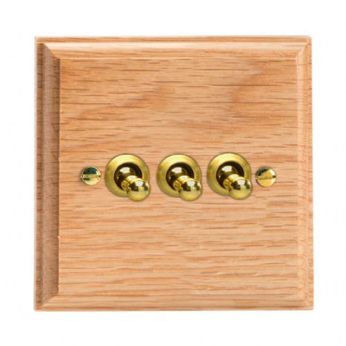 Varilight XKT3O Kilnwood Oak 3 Gang 10A 1 or 2 Way Toggle Light Switch